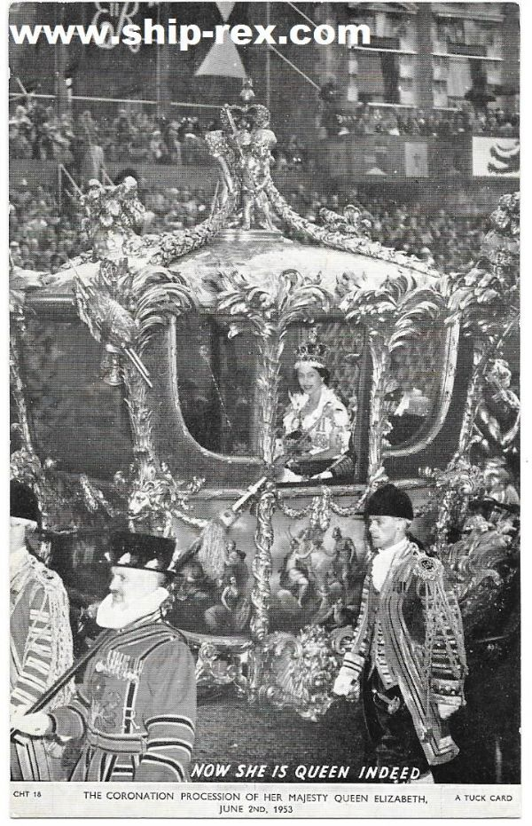 Queen Elizabeth II, The Coronation Procession - Tuck's postcard